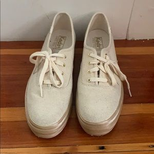 Barely worn gold platform Keds
